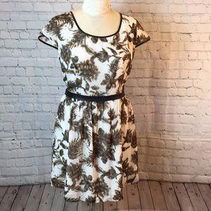 Kenzie brown/cream print dress vegan leather trim